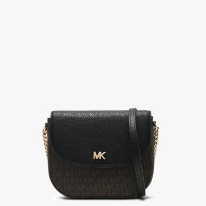 8f50fc3ed Michael Kors Mott Half Dome Brown & Black Pebbled Leather & Logo Cross-Body  Bag