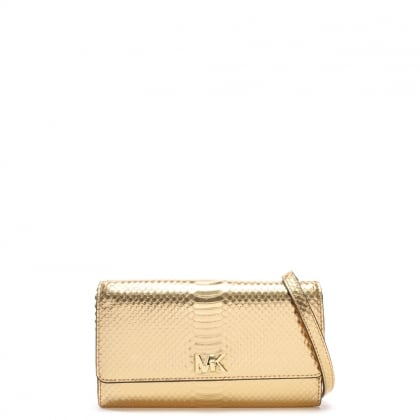 Mott Pale Gold Reptile Leather Wallet Clutch Bag