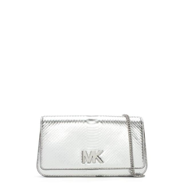 b3ca2289226f Michael Kors Mott Silver Reptile Leather Large Clutch Bag