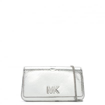 Mott Silver Reptile Leather Large Clutch Bag