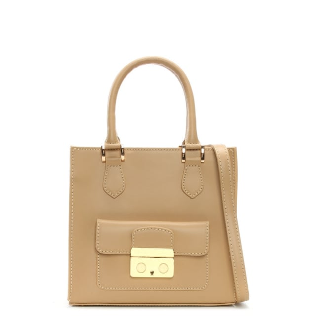 Muddler Small Beige Leather Structured Tote Bag