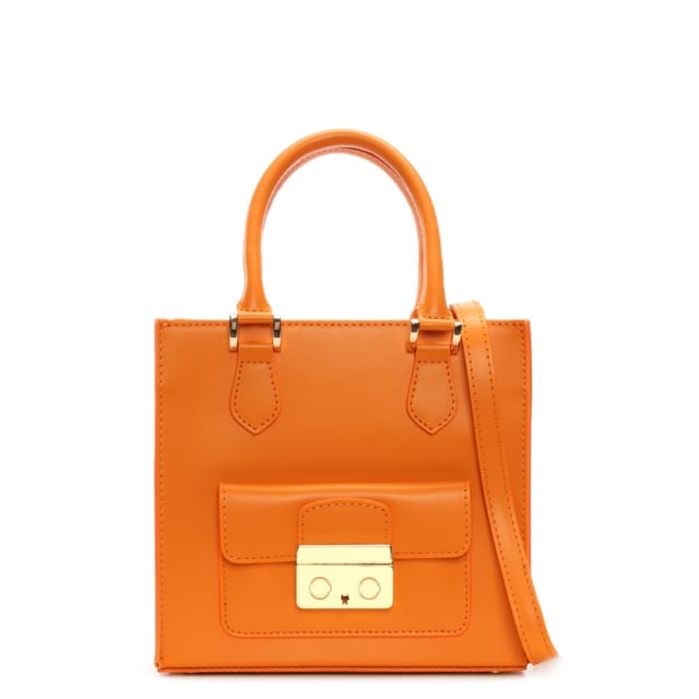 Muddler Small Orange Leather Structured Tote Bag