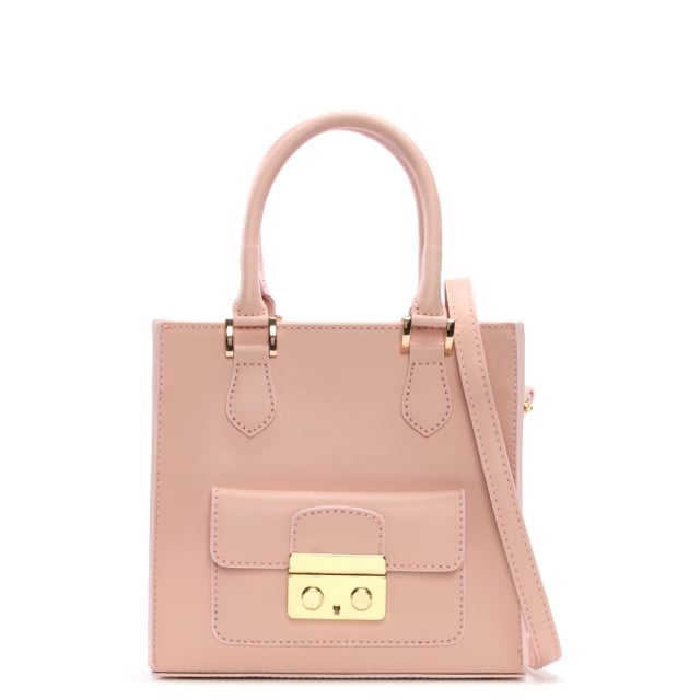 Muddler Small Pink Leather Structured Tote Bag