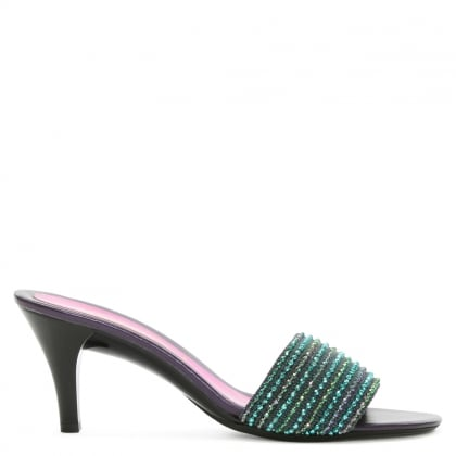 Multicoloured Beaded Jute Heeled Mule