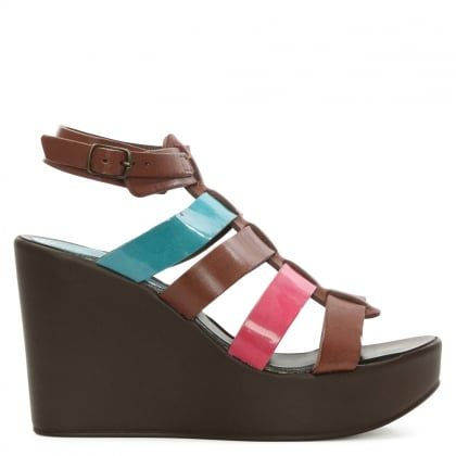 Multicoloured Leather Wedge Sandal
