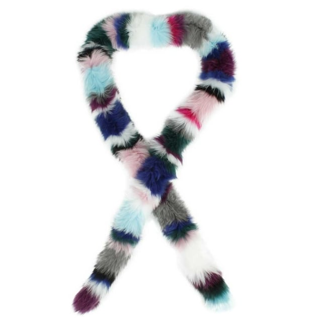 Multicoloured Twist Fur Scarf