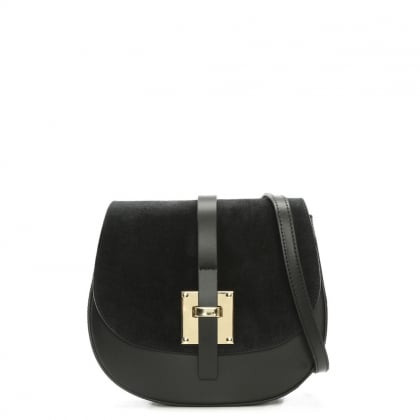 Mumble Black Suede & Leather Metal Trim Satchel Bag