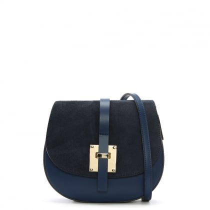 Mumble Navy Suede & Leather Metal Trim Satchel Bag