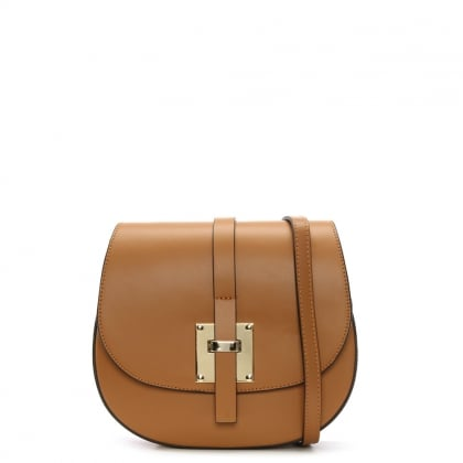 Mumble Tan Leather Metal Trim Satchel Bag
