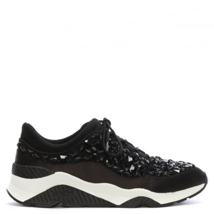 Muse Beads Embellished Black Trainers