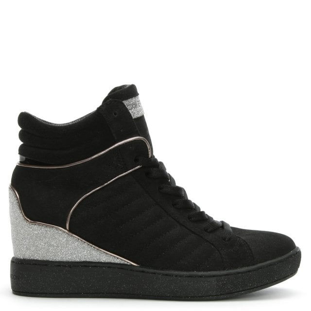 Muse Black Suede Wedge High Top Trainers
