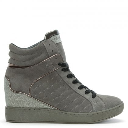Muse Grey Suede Wedge High Top Trainers