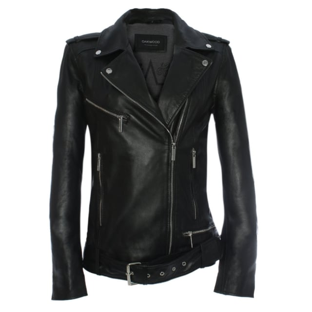 Oakwood Music Oversized Black Leather Biker Jacket