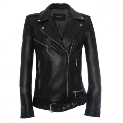 Music Oversized Black Leather Biker Jacket