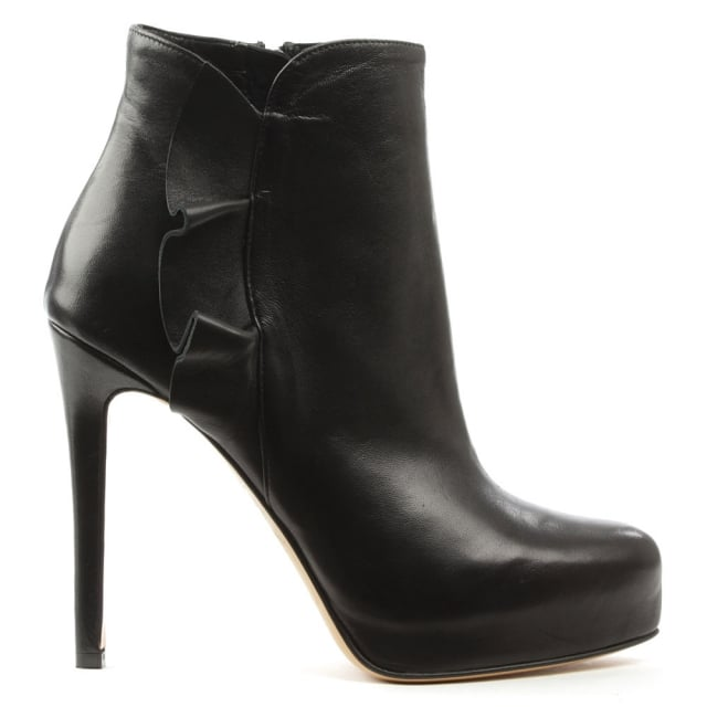 Myra Black Leather Ruffled Ankle Boot