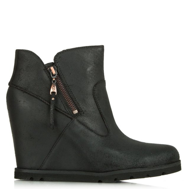 Myrna Black Distressed Leather Concealed Wedge Ankle Boot