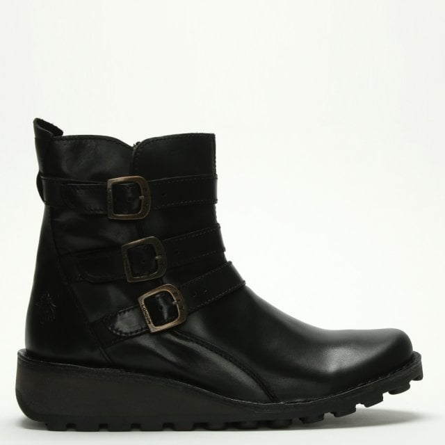 8a6dfc03c1e Fly London Myso Black Leather Low Wedge Ankle Boots