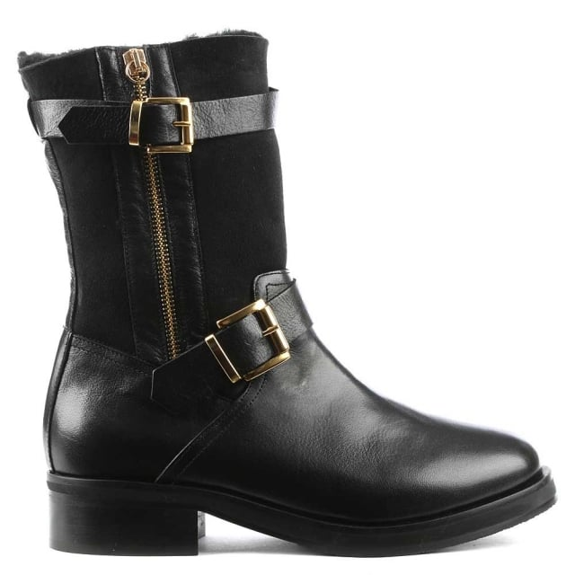Nadeen Black Leather Buckled Calf Boot