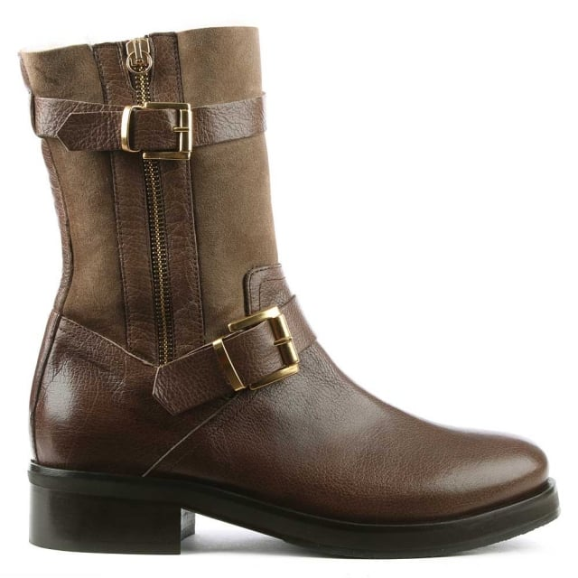 Nadeen Taupe Leather Buckled Calf Boot