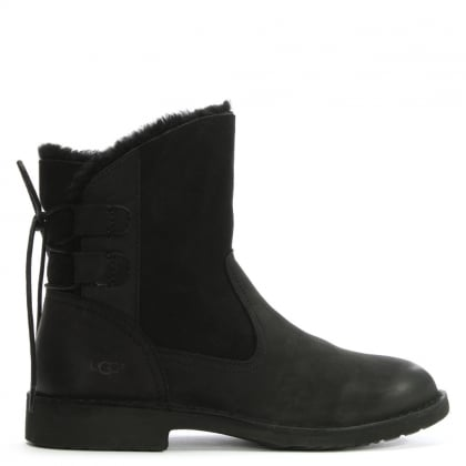 Naiyah Black Suede Twinface Ankle Boots