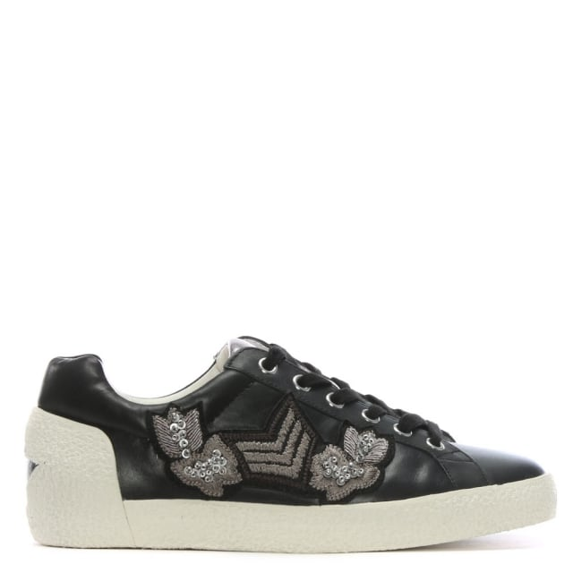 Nakarms Black Leather Embroidered Sneakers