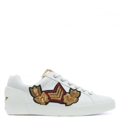 Nakarms White Leather Embroidered Sneakers