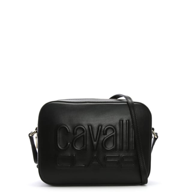 Cavalli Class Nancy Black Leather Logo Cross-Body Bag