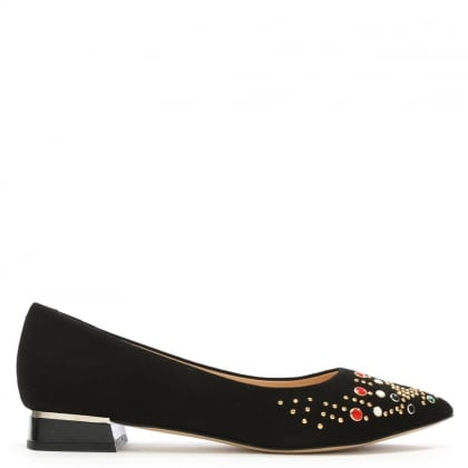 Nandina Black Suede Jewelled Pointed Toe Flat