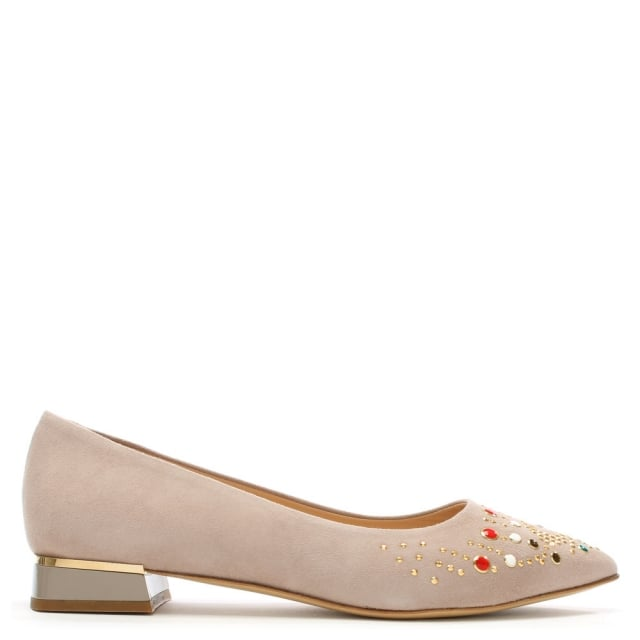 Nandina Taupe Suede Jewelled Pointed Toe Flat