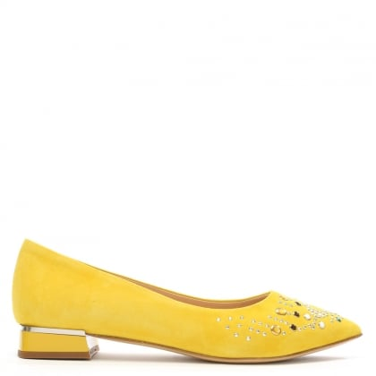 Nandina Yellow Suede Jewelled Pointed Toe Flat