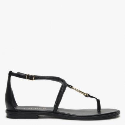 bb4b6b85023c Nanine Black Leather Loop Toe Post Sandals