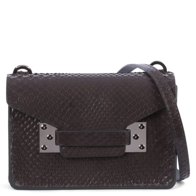 Nano Milner Grey Reptile Leather Saddle Bag
