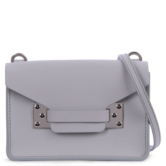 Nano Milner Silver Light Grey Leather Saddle Bag