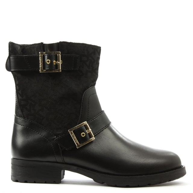 Naomi Black Leather Heritage Logo Biker Boot