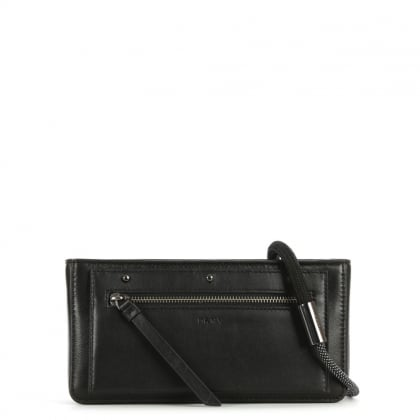 Nappa Black Leather Bungee Strap Small Cross-Body Bag
