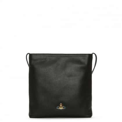Vivienne Westwood Nappa Black Leather Cross-Body Bag