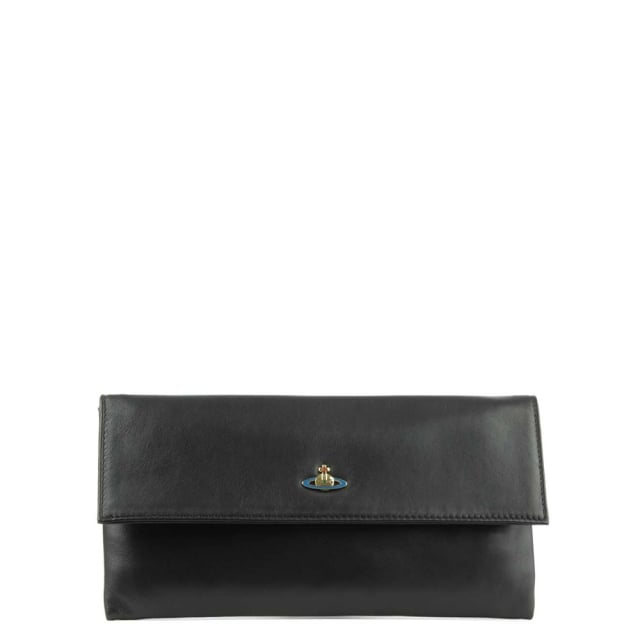 Nappa Black Leather Flapover Clutch