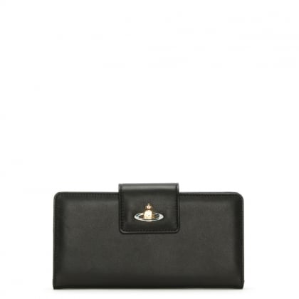 Nappa Black Leather Foldover Wallet