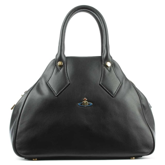 Nappa Black Leather Top Zip Bowler Bag