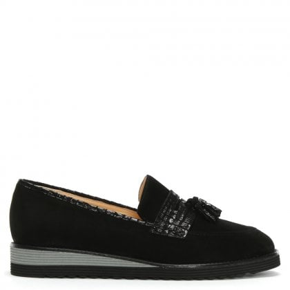 Narlah Black Suede Tassel Loafers