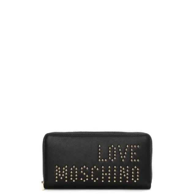 Love Moschino Nat Black Studded Logo Zip Around Wallet