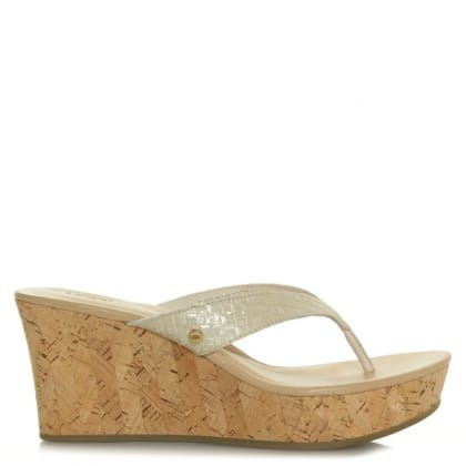 UGG Natassia Gold Suede Metallic Basket Wedge Sandal