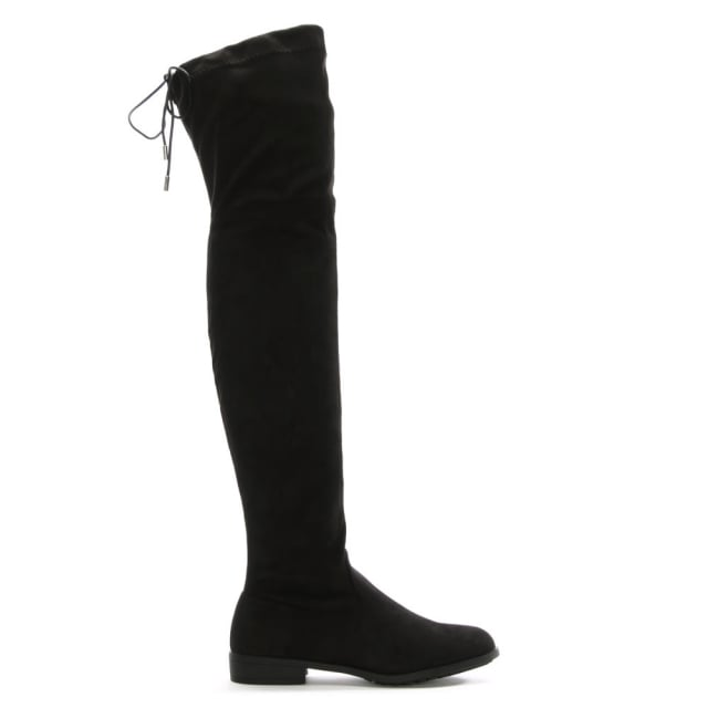 Nate Black Suedette Over The Knee Boots