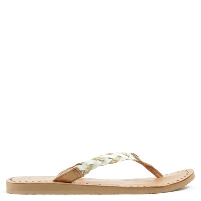 6d8258d6cb8 Navie White Jute Braid Toe Post Flip Flop