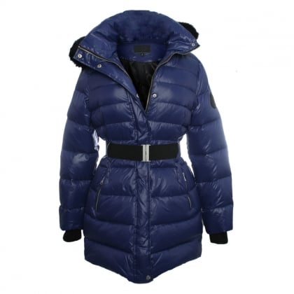 Navy Belted Nylon Down Jacket