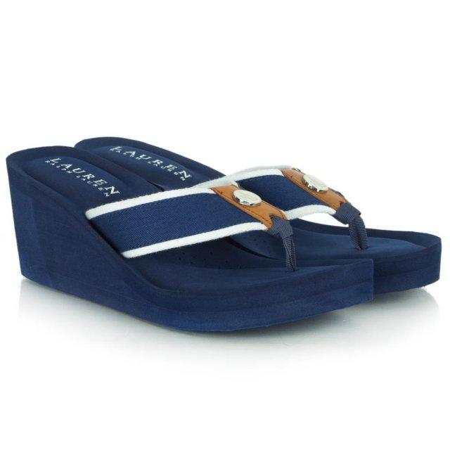 3d3c5f8fe353 Lauren By Ralph Lauren Navy Jane Toe Wedge Flip Flop