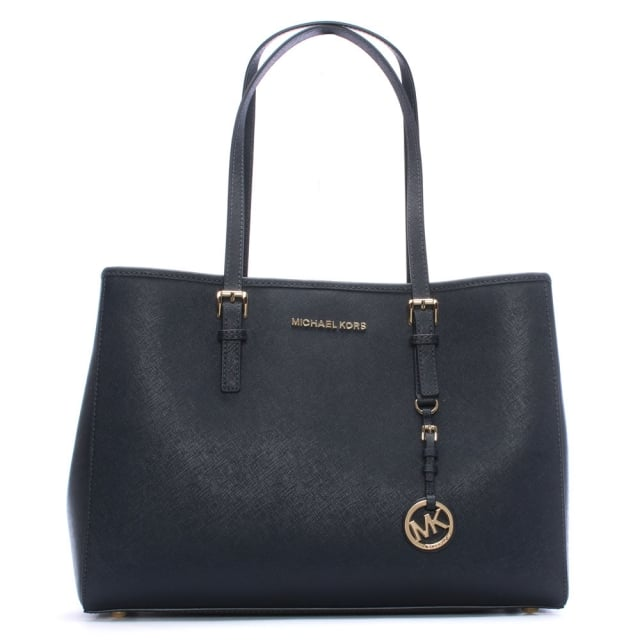 Navy Jetset Travel Large Leather Tote Bag
