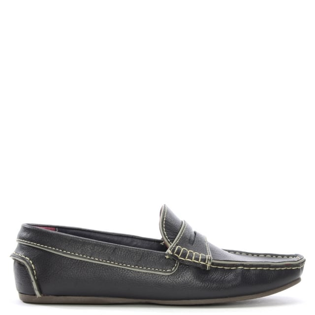 Navy Leather Contrast Trim Loafers