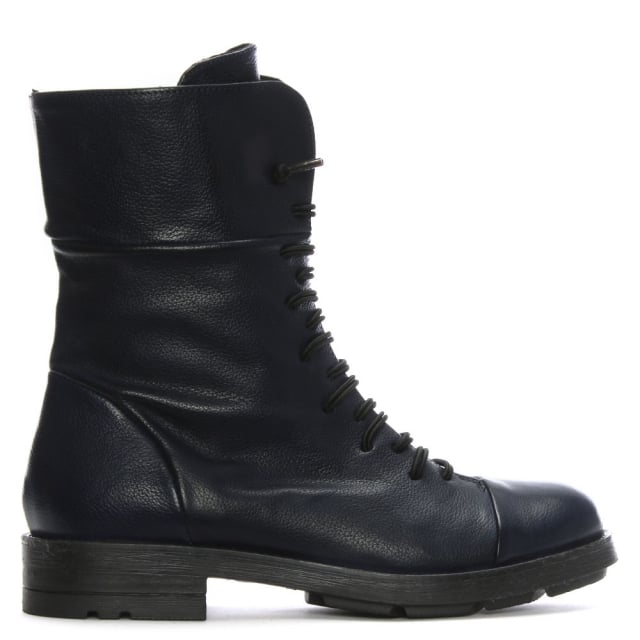 Navy Leather Elasticated Lace Biker Boots