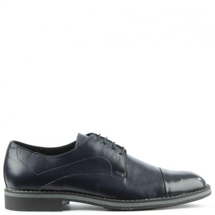 Navy Leather Lace Up Dress Shoe